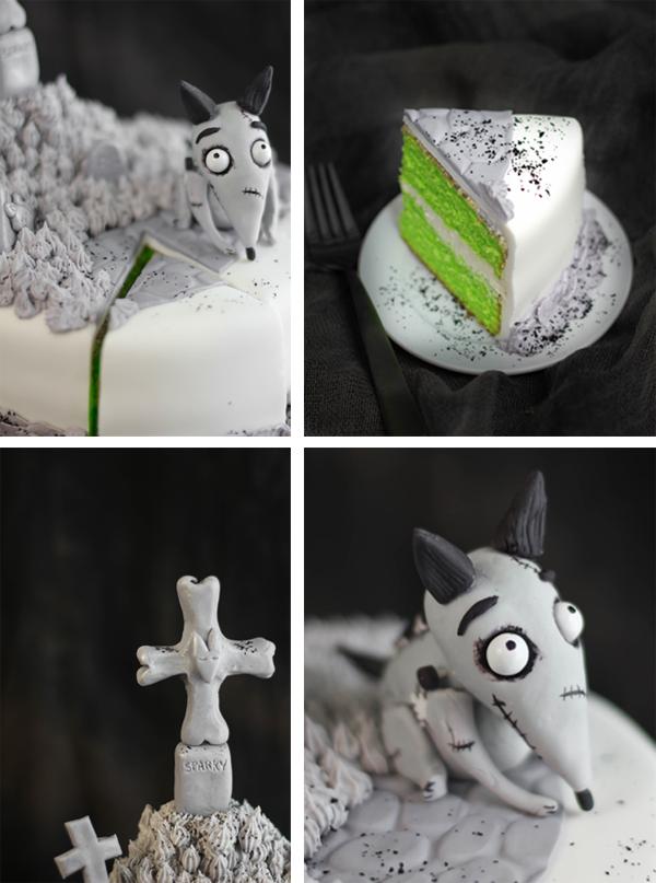 Frankenweenie Cake Details by SprinkleBakes