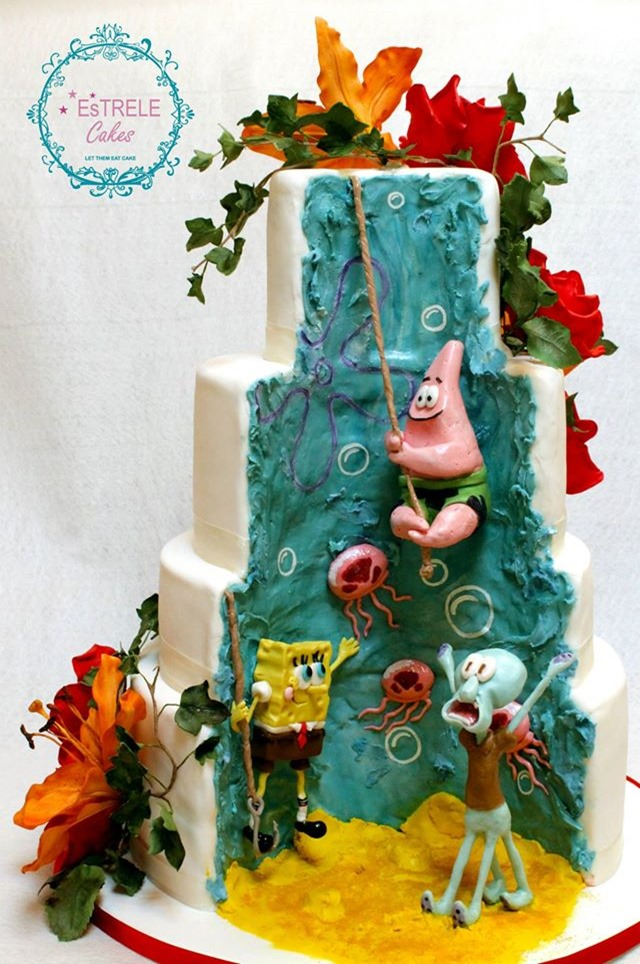 half and half geek cake spongebob2