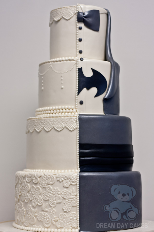 geek half and half cake - batman wedding cake